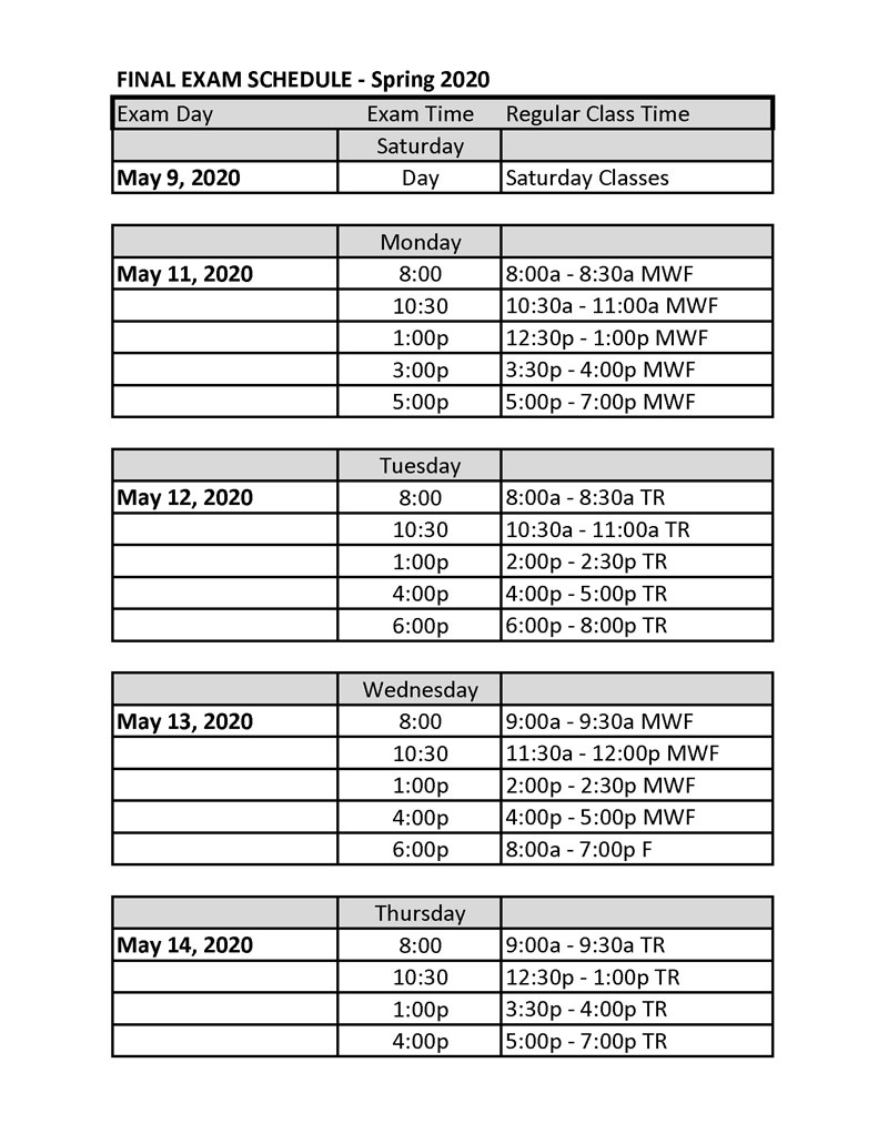 Final Exam Schedule Navajo Technical University Crownpoint Nm