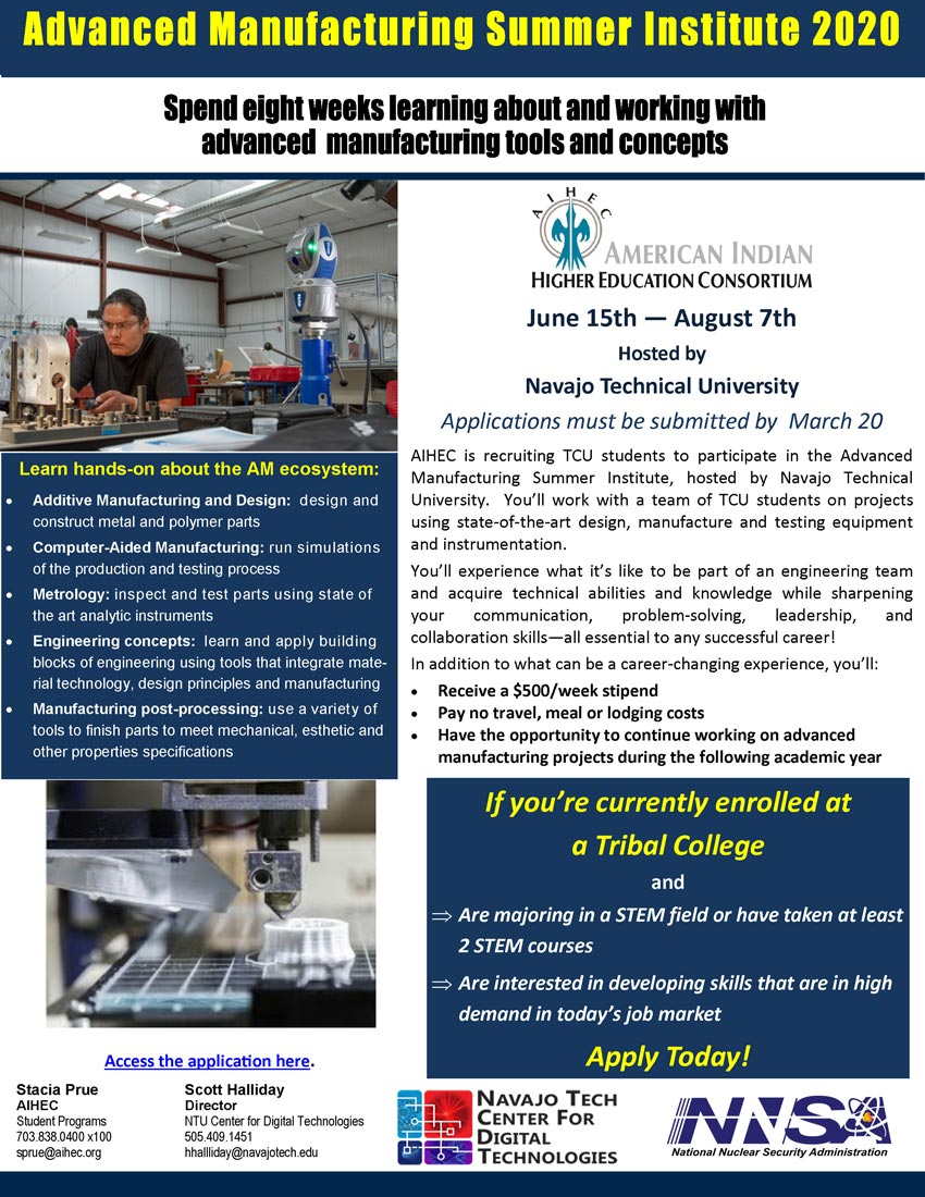 2020 Advanced Manufacturing Summer Institute Flyer 1