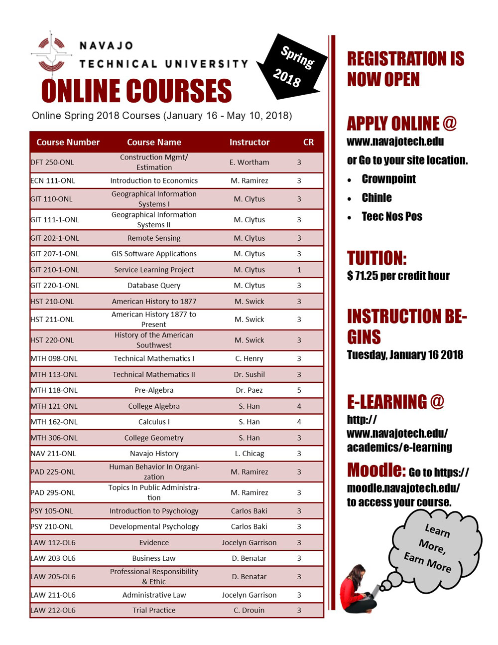 onlineCoursesSpring2018