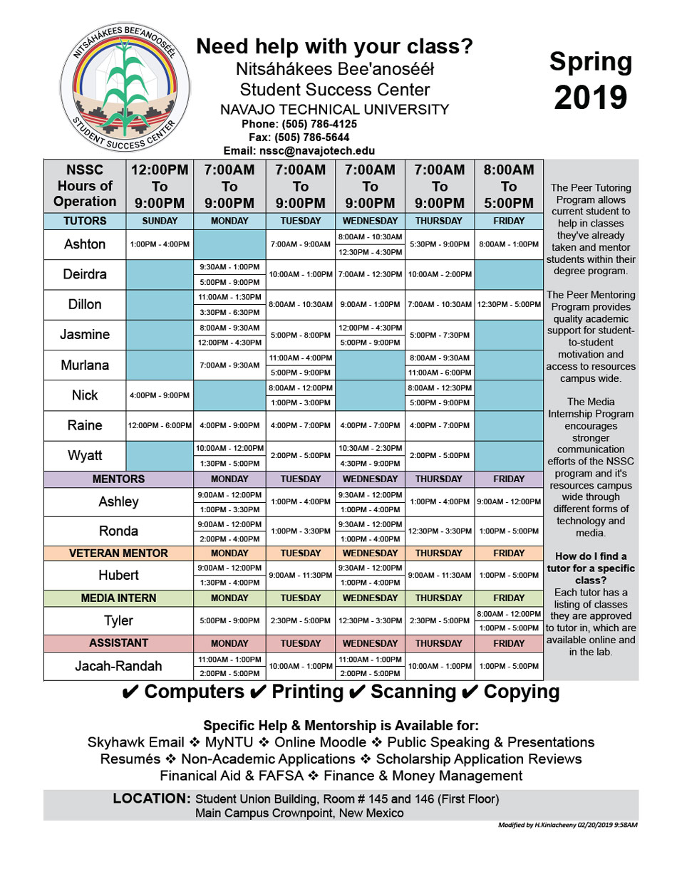 2019 SPRING NSSC Work Schedules 02.20.2019 958A